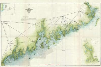1871 U.S. Coast Survey Nautical Chart of the Coast of Maine