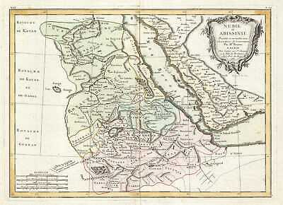 1771 Bonne Map of Abyssinia (Ethiopia), Sudan and the Red Sea