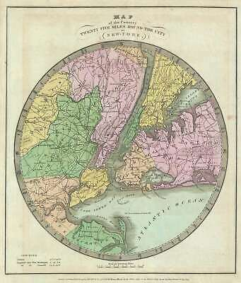 1835 Burr Map of New York City and Vicinity (25 miles around)