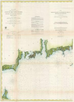 1860 U.S. Coast Survey Nautical Chart of Block Island and Newport Rhode Island