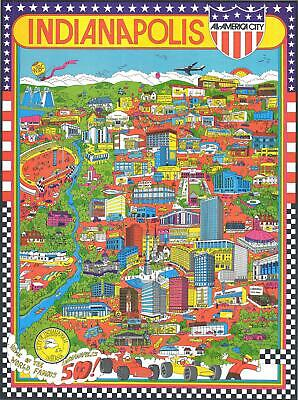 1971 Trans Continental Cartographers Pictorial Map of Indianapolis, Indiana