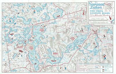 1977 Dustin Pictorial Map of the Saranac Lakes, New York
