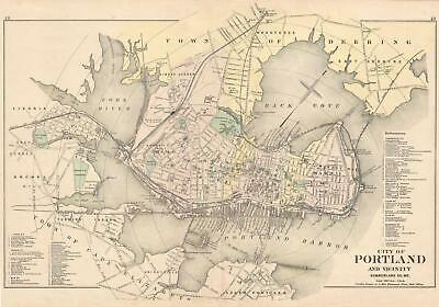 1885 Colby and Stuart Map of Portland, Maine