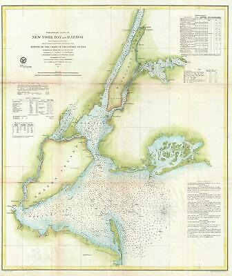 1857 U.S. Coast Survey Nautical Chart of New York City and Harbor
