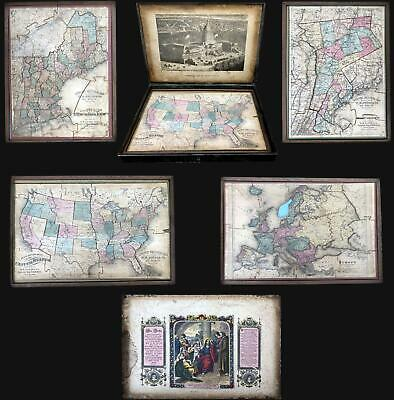 1877 Lloyd Set of Four Puzzle Maps of the United States and Europe