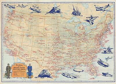 1944 Rand McNally Pictorial Map of Military Bases Across the United States