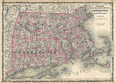 1862 Johnson Map of Massachusetts, Connecticut and Rhode Island
