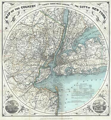 1890 Colton Map of New York and Vicinity (33 Miles Around)
