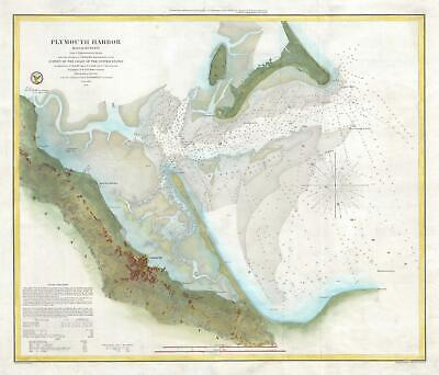 1857 U.S. Coast Survey Chart or Map of Plymouth Harbor, Massachusetts