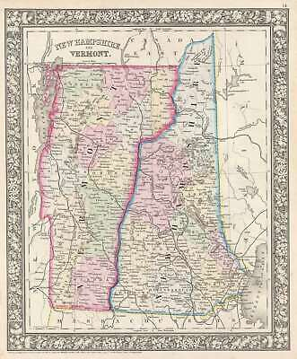1862 Mitchell Map of Vermont and New Hampshire