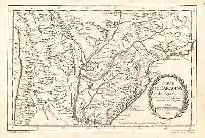 1756 Bellin Map of southern South America (Paraguay, Argentina, Chile, Brazil)