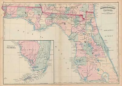 1872 Asher and Adams Map of Florida