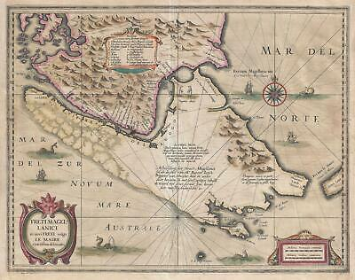 1638 Hondius and Jansson Map of the Straits of Magellan