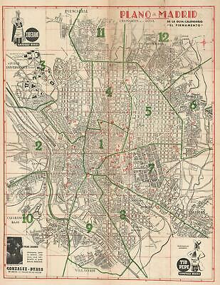 1950 El Firmamento City Map or Plan of Madrid, Spain
