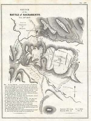1847 U.S. Govt. Map of the Mexican War Battle of the Rio Sacramento in Mexico