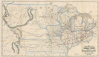1856 Beadle Map of the American Middle West, Nebraska and Kansas Territory