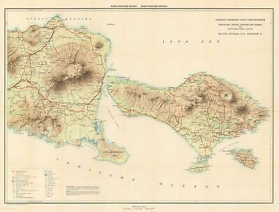 1932 Travellers Official Information Bureau Map of Bali, Indonesia