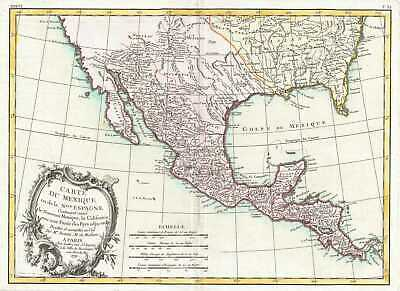 1771 Bonne Map of Mexico (Texas), Louisiana and Florida