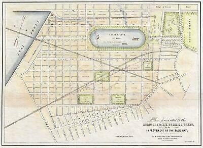 1852 Sears Planning Map for the Back Bay Landfill, Boston