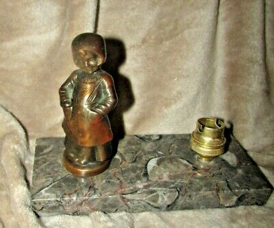Antique French Bronze & Marble Lamp Smiling Child Art Deco