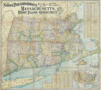 1902 National Railroad Map of Massachusetts, Rhode Island, and Connecticut