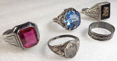Antique Vintage STERLING SILVER Art Nouveau Embossed Band Ruby Ring Jewelry Lot