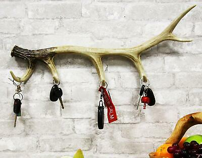 Western Rustic Hunters 6 Point Stag Deer Antler Rack Wall Hooks Decor Plaque 24""