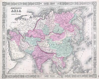 1864 Johnson's Map of Asia
