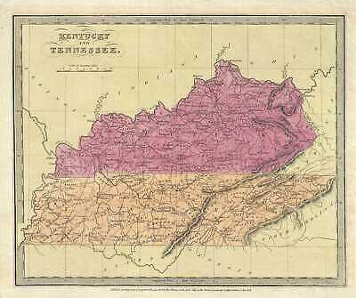 1834 Burr Map of Kentucky and Tennessee