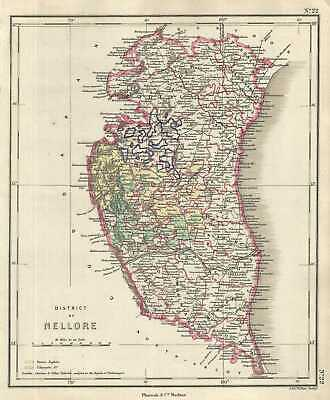 1854 Pharoah and Company Map of the District of Nellore, Andhra Pradesh, India