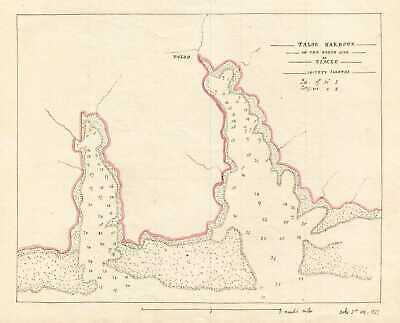 1835 Manuscript Map of Taloo Harbor on Mo'orea Island, French Polynesia