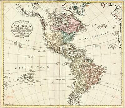 1796 Mannert Map of North America and South America