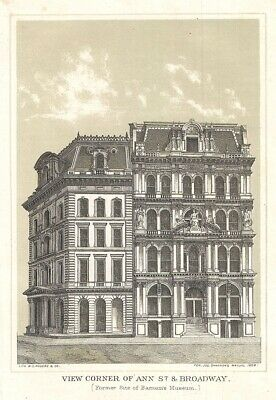 1868 Shannon View of Broadway and Ann Street (Barnum Museum), New York City