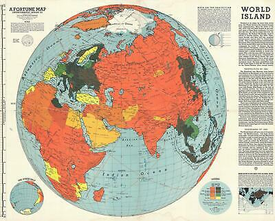 1943 Fortune Magazine Persuasive Map of the World during World War II