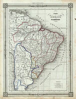1852 Duvotenay Map of the Empire of Brazil