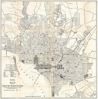 1901 Norris Peters Map of Washington D.C. w/ Lung Disease Mortality
