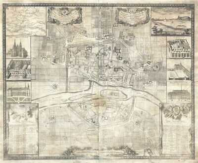 1736 Simon Map or Plan of Angers, France (19th Century Restrike)