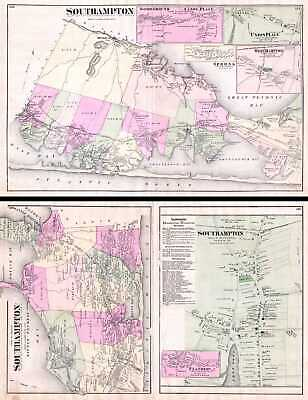 1873 Beers Map of Southampton, Bridgeampton, Sag Harbor, Long Island, New York