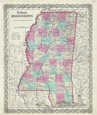 1859 Colton Map of Mississippi