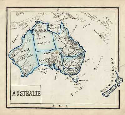 1871 Sikkel Manuscript Map of Australia and New Zealand