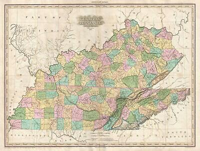 1825 Tanner Map of Kentucky and Tennessee