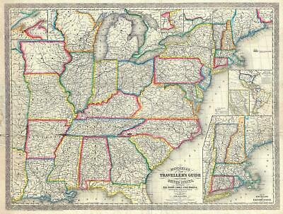 1857 Desilver Pocket Map of the United States