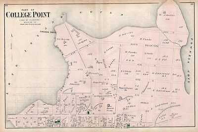 1873 Beers Map of College Point (Flushing), Queens, New York City