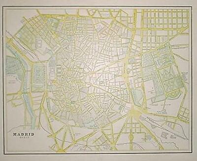 1899 Madrid, Spain Antique Color map** Spain & Portugal on back .. 120 years-old