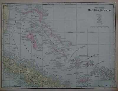 1899 Bahama Islands Color Atlas Map**... with Area & Population.. 120 years-old!