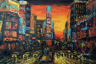 Abstract Times Square New York Flame Red Sunset 24X36 Oil Painting STRETCHED