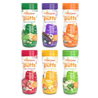 Happy Baby Organic Superfood Puffs Assortment Variety Packs 2.1 Oz (Pack of 6)