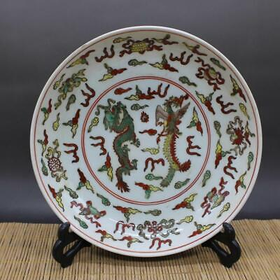 Chinese ancient antique hand make Dragon-phoenix pattern plate s461