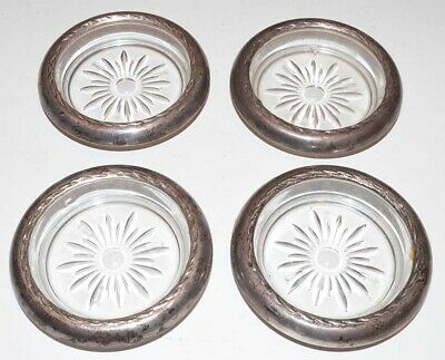 Antique Set of 4 - Sterling Silver and Glass Starburst Coasters