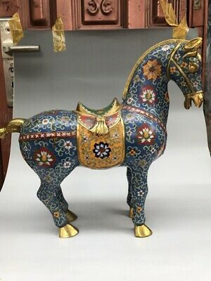 Collection Of Ancient Chinese Cloisonne Horse Statue Pure Hand-Painted Exquisite